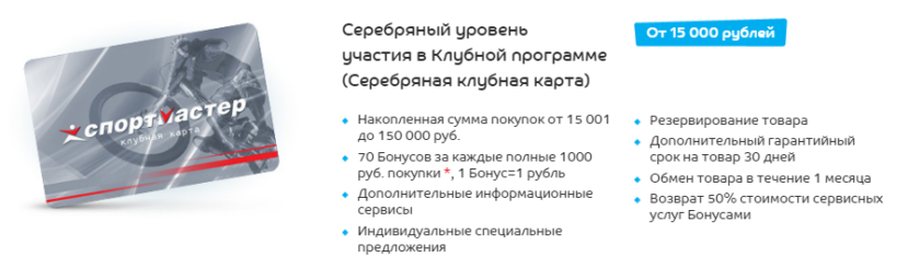 Серебряная карта Спортмастер